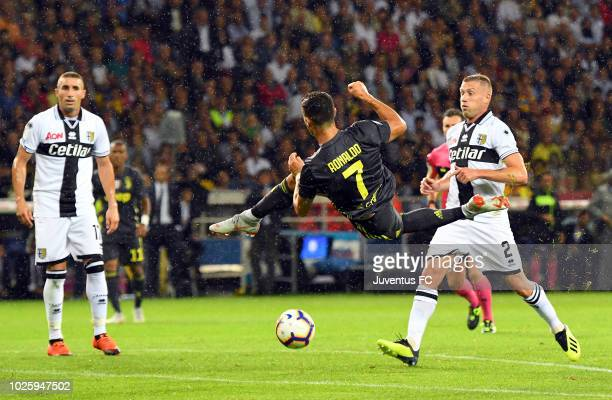 Cristiano Ronaldo of Juventus jumps during the serie A match between Parma Calcio and Juventus at Stadio Ennio Tardini on September 1 2018 in Parma...