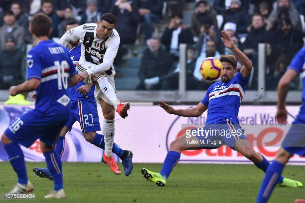 Cristiano Ronaldo of Juventus kicks the ball during the Serie A match between Juventus and UC Sampdoria on December 29 2018 in Turin Italy