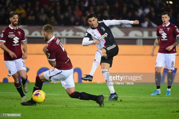 Cristiano Ronaldo of Juventus kicks the ball during the Serie A match between Torino FC and Juventus at Stadio Olimpico di Torino on November 2 2019...