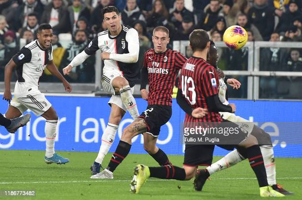 Cristiano Ronaldo of Juventus kicks the ball during the Serie A match between Juventus and AC Milan at Allianz Stadium on November 10 2019 in Turin...