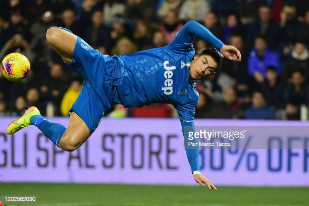 Cristiano Ronaldo of Juventus kicks the ball in the air during the Serie A match between SPAL and Juventus at Stadio Paolo Mazza on February 22, 2020...