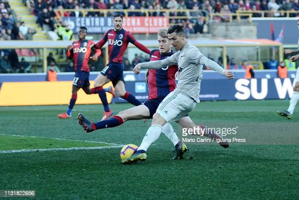 Cristiano Ronaldo of Juventus kicks the ball towards the goal during the Serie A match between Bologna FC and Juventus at Stadio Renato Dall'Ara on...
