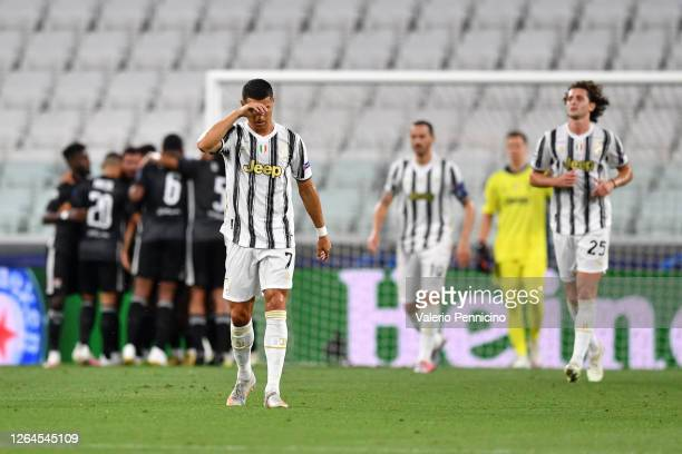Cristiano Ronaldo of Juventus looks dejected after his team concede during the UEFA Champions League round of 16 second leg match between Juventus...