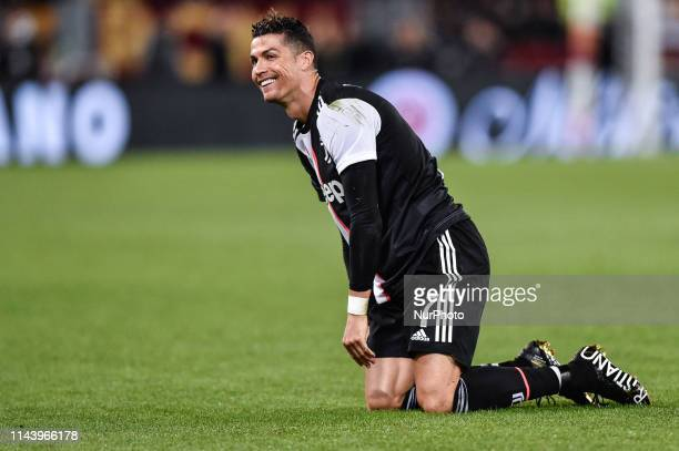 Cristiano Ronaldo of Juventus looks dejected during the Serie A match between Roma and Juventus at Stadio Olimpico Rome Italy on 12 May 2019