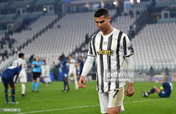 Cristiano Ronaldo of Juventus looks dejected during the UEFA Champions League Round of 16 match between Juventus and FC Porto at Juventus Arena on...