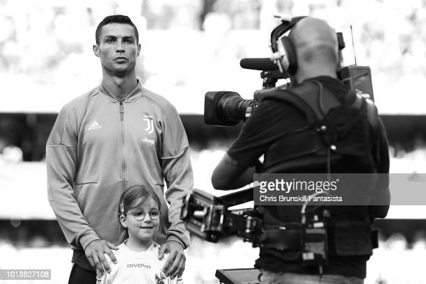 Cristiano Ronaldo of Juventus looks on ahead of the Serie A match between Chievo Verona and Juventus at Stadio Marc'Antonio Bentegodi on August 18...