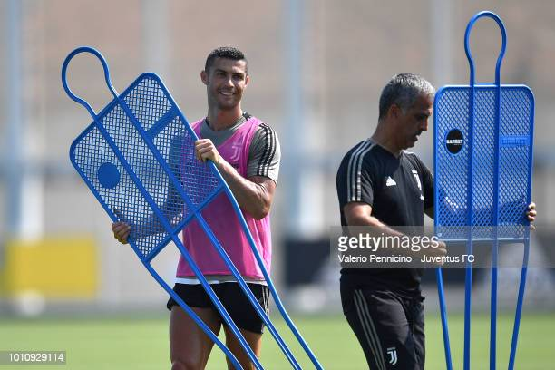Cristiano Ronaldo of Juventus looks on during a training session at JTC on August 4 2018 in Turin Italy