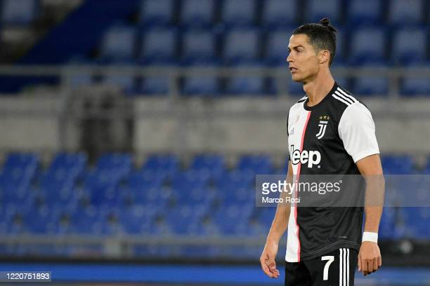 Cristiano Ronaldo of Juventus looks on during the Coppa Italia Final match between Juventus and SSC Napoli at Olimpico Stadium on June 17 2020 in...