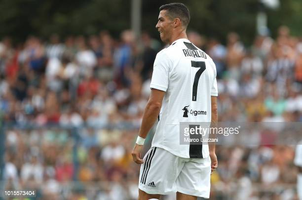 Cristiano Ronaldo of Juventus looks on during the PreSeason Friendly match between Juventus and Juventus U19 on August 12 2018 in Villar Perosa Italy