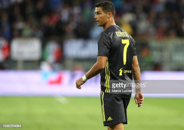 Cristiano Ronaldo of Juventus looks on during the serie A match between Parma Calcio and Juventus at Stadio Ennio Tardini on September 1 2018 in...