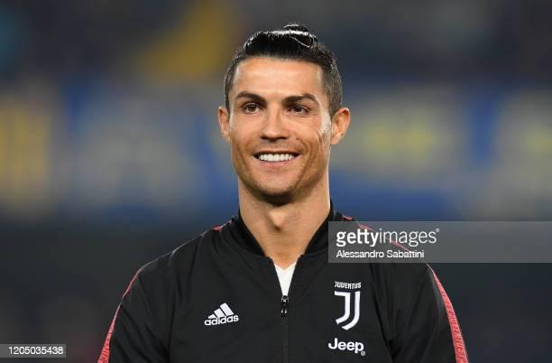 Cristiano Ronaldo of Juventus looks on during the Serie A match between Hellas Verona and Juventus at Stadio Marcantonio Bentegodi on February 8,...