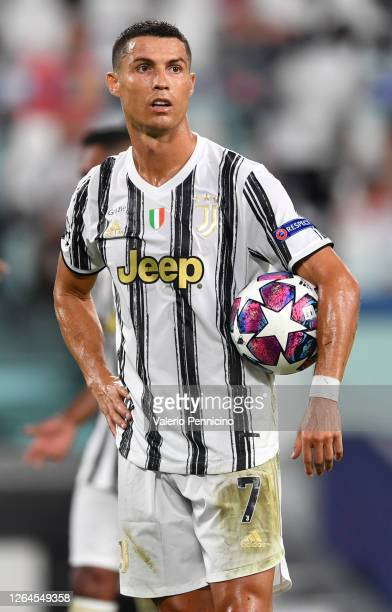Cristiano Ronaldo of Juventus looks on during the UEFA Champions League round of 16 second leg match between Juventus and Olympique Lyon at Allianz...