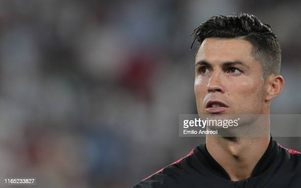 Cristiano Ronaldo of Juventus looks on prior the Serie A match between Juventus and SSC Napoli at Allianz Stadium on August 31 2019 in Turin Italy