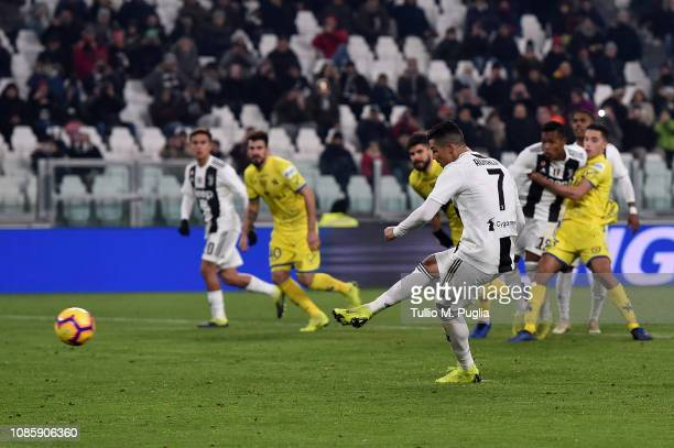 Cristiano Ronaldo of Juventus misses a penalty during the Serie A match between Juventus and Chievo at Allianz Stadium on January 21 2019 in Turin...
