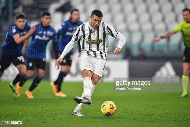 Cristiano Ronaldo of Juventus misses a penalty during the Serie A match between Juventus and Atalanta BC at Allianz Stadium on December 16, 2020 in...