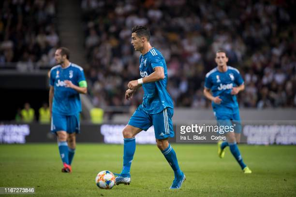 Cristiano Ronaldo of Juventus moves to the gaol during the International Champions Cup Friendly match between Atletico de Madrid and Juventus FC The...