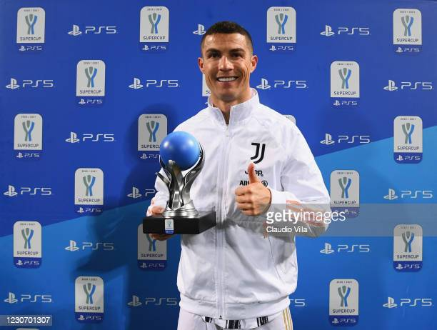 Cristiano Ronaldo of Juventus MVP of the match during the Italian PS5 Supercup match between Juventus and SSC Napoli at Mapei Stadium - Citta' del...