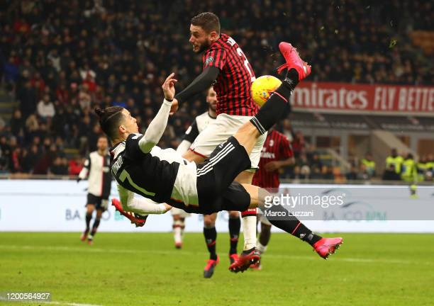 Cristiano Ronaldo of Juventus performs an overhead kick during the Coppa Italia Semi Final match between AC Milan and Juventus at Stadio Giuseppe...