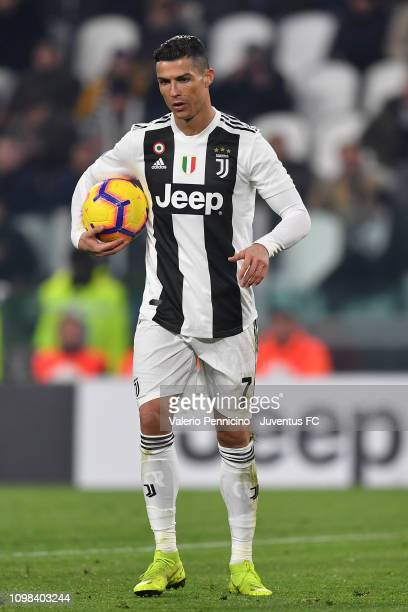 Cristiano Ronaldo of Juventus prepares penalty during the Serie A match between Juventus and Chievo on January 21 2019 in Turin Italy