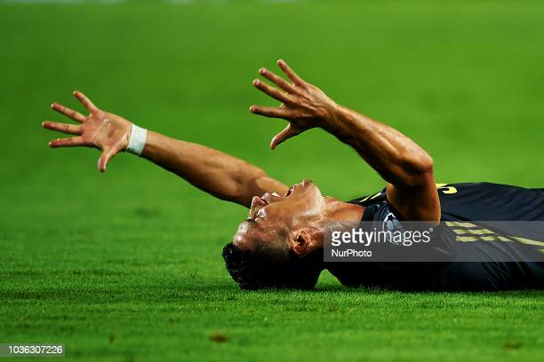 Cristiano Ronaldo of Juventus reacts after get a red card Group H match of the UEFA Champions League between Valencia CF and Juventus at Mestalla...