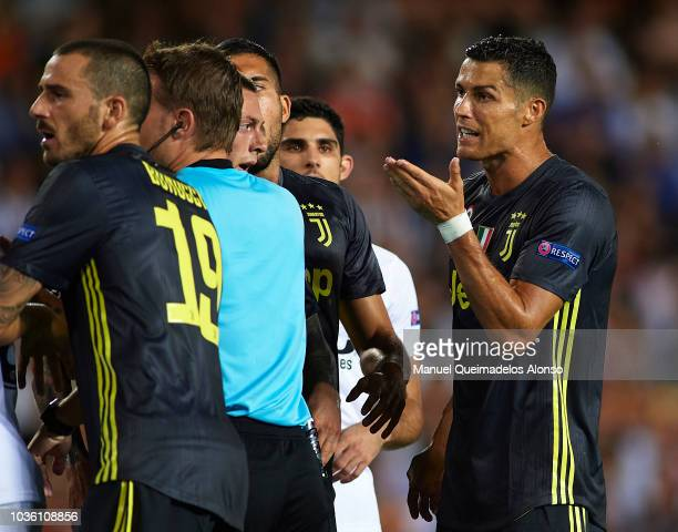 Cristiano Ronaldo of Juventus reacts after his red card during the Group H match of the UEFA Champions League between Valencia and Juventus at...