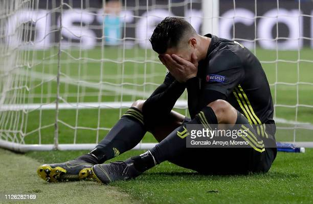 Cristiano Ronaldo of Juventus reacts after missing a chance during the UEFA Champions League Round of 16 First Leg match between Club Atletico de...