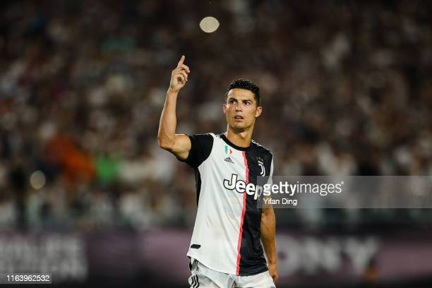 Cristiano Ronaldo of Juventus reacts after scoring during the penalty shootout of the International Champions Cup match between Juventus and FC...