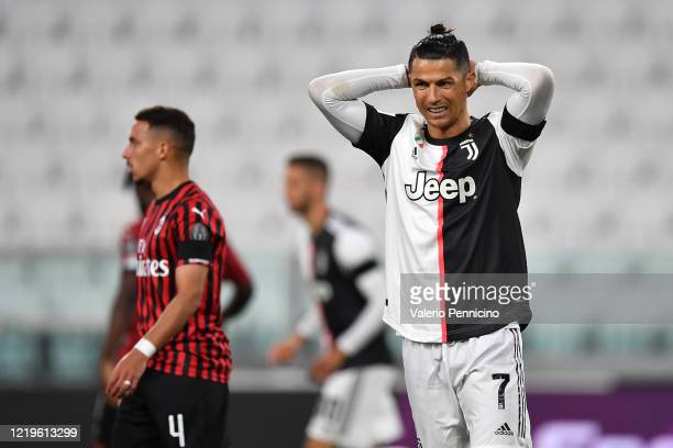Cristiano Ronaldo of Juventus reacts during the Coppa Italia SemiFinal Second Leg match between Juventus and AC Milan at Allianz Stadium on June 12...