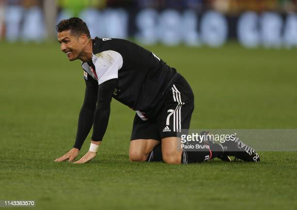 Cristiano Ronaldo of Juventus reacts during the Serie A match between AS Roma and Juventus at Stadio Olimpico on May 12 2019 in Rome Italy
