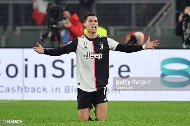 Cristiano Ronaldo of Juventus reacts during the Serie A match between SS Lazio and Juventus at Stadio Olimpico on December 7 2019 in Rome Italy