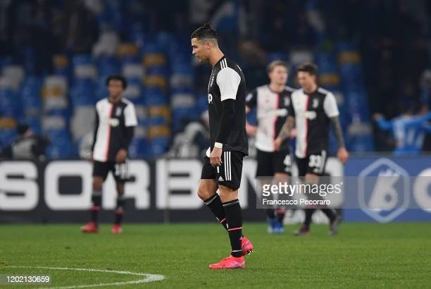 Cristiano Ronaldo of Juventus reacts during the Serie A match between SSC Napoli and Juventus at Stadio San Paolo on January 26 2020 in Naples Italy