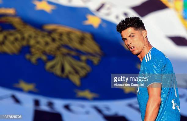 Cristiano Ronaldo of Juventus reacts during the Serie A match between Udinese Calcio and Juventus at Stadio Friuli on July 23 2020 in Udine Italy
