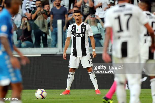 Cristiano Ronaldo of Juventus reacts during the Srie A match between Juventus and SSC Napoli at Allianz Stadium on September 29 2018 in Turin Italy