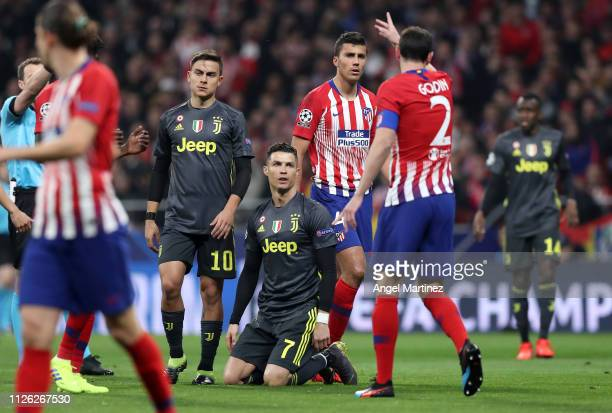 Cristiano Ronaldo of Juventus reacts during the UEFA Champions League Round of 16 First Leg match between Club Atletico de Madrid and Juventus at...