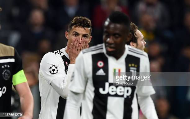 Cristiano Ronaldo of Juventus reacts during the UEFA Champions League Quarter Final second leg match between Juventus and Ajax at Allianz Stadium on...