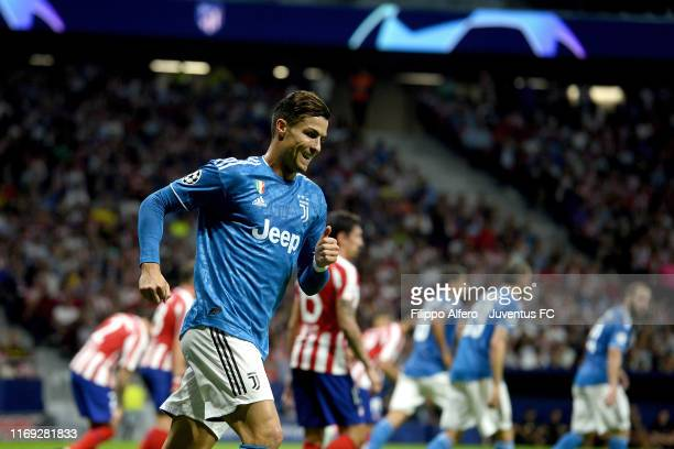 Cristiano Ronaldo of Juventus reacts during the UEFA Champions League group D match between Atletico Madrid and Juventus at Wanda Metropolitano on...