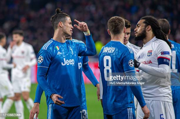 Cristiano Ronaldo of Juventus reacts during the UEFA Champions League round of 16 first leg match between Olympique Lyon and Juventus at Parc...