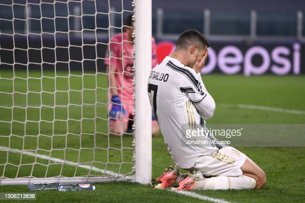Cristiano Ronaldo of Juventus reacts during the UEFA Champions League Round of 16 match between Juventus and FC Porto at Juventus Arena on March 09,...