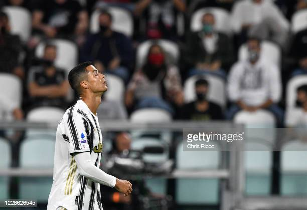 Cristiano Ronaldo of Juventus reacts in frustration looks to the sky during the Serie A match between Juventus and UC Sampdoria at Allianz Stadium on...