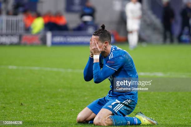 Cristiano Ronaldo of Juventus reacts to a play during the UEFA Champions League round of 16 first leg match between Olympique Lyonnais and Juventus...