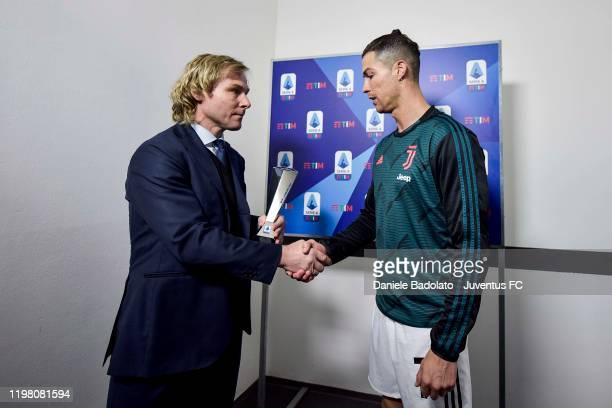 Cristiano Ronaldo of Juventus receive best player of the month by Juventus' Vice-President Pavel Nedved before the Serie A match between Juventus and...