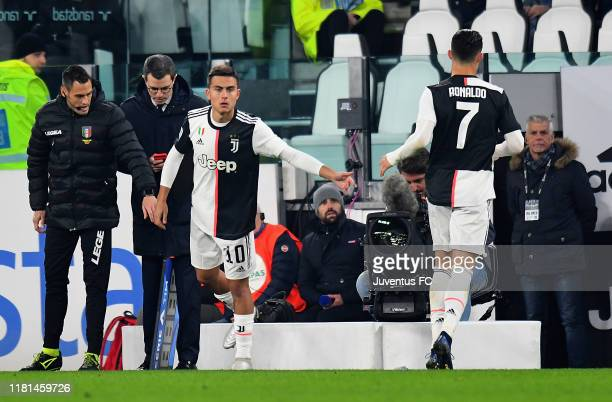 Cristiano Ronaldo of Juventus replaced by Paulo Dybala during the Serie A match between Juventus and AC Milan at Allianz Stadium on November 10 2019 i