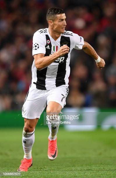 Cristiano Ronaldo of Juventus runs off the ball during the Group H match of the UEFA Champions League between Manchester United and Juventus at Old...
