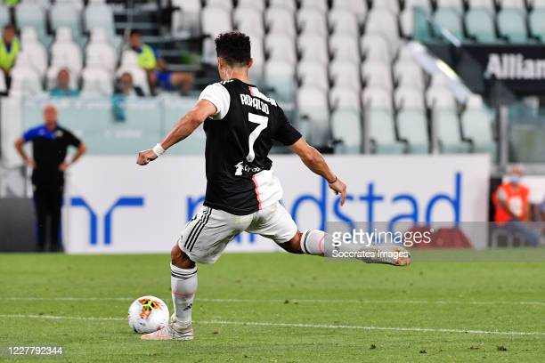 Cristiano Ronaldo of Juventus scores 10 during the Italian Serie A match between Juventus v Sampdoria at the Allianz Stadium on July 26 2020 in Turin...