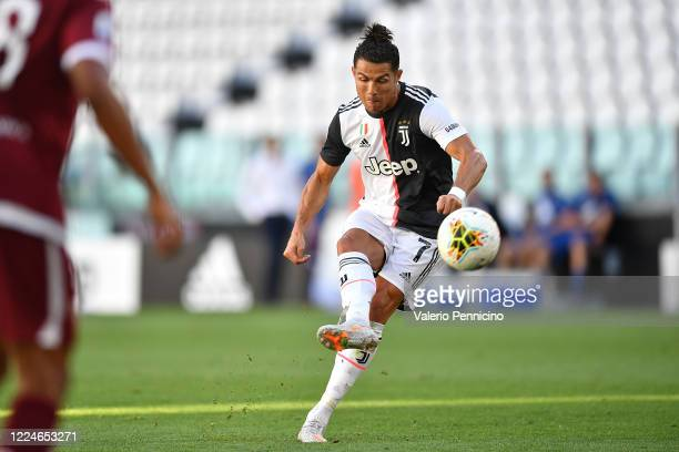 Cristiano Ronaldo of Juventus scores a goal during the Serie A match between Juventus and Torino FC at Allianz Stadium on July 4, 2020 in Turin,...