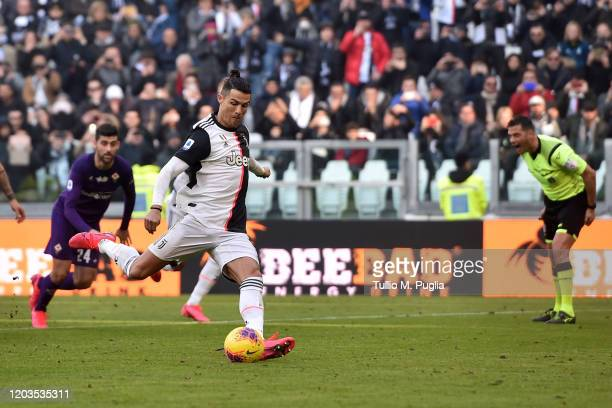 Cristiano Ronaldo of Juventus scores a penalty during the Serie A match between Juventus and ACF Fiorentina at Allianz Stadium on February 02 2020 in...