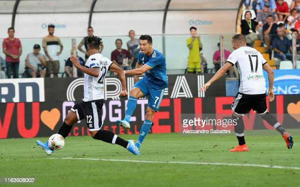 Cristiano Ronaldo of Juventus scores but goal is disallowed during the Serie A match between Parma Calcio and Juventus at Stadio Ennio Tardini on...