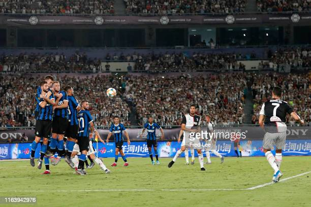 Cristiano Ronaldo of Juventus scores his side's first goal from a free kick during the International Champions Cup match between Juventus and FC...