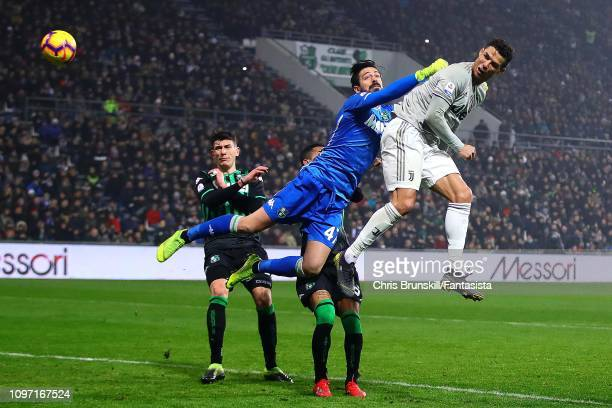 Cristiano Ronaldo of Juventus scores his side's second goal during the Serie A match between US Sassuolo and Juventus at Mapei Stadium Citta' del...