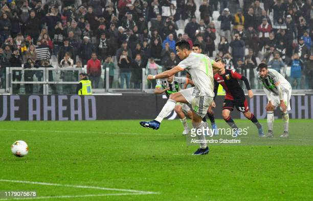 Cristiano Ronaldo of Juventus scores his team second goal during the Serie A match between Juventus and Genoa CFC at on October 30 2019 in Turin Italy